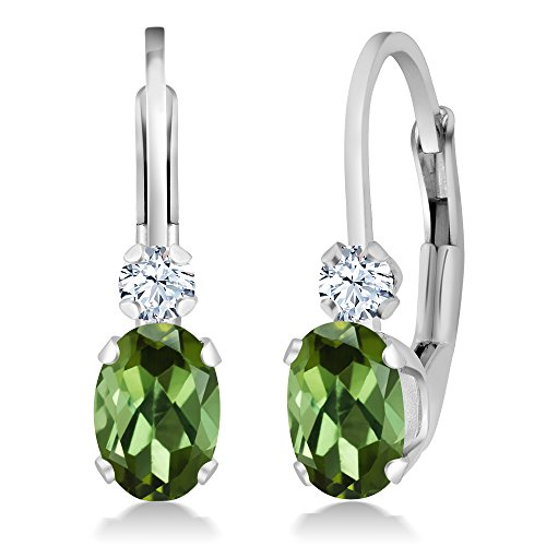 Gem Stone King 0.88 Ct Oval Green Tourmaline White Sapphire 925 Sterling Silver Leverback Earrings
