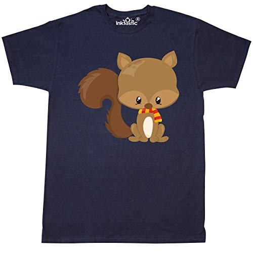 inktastic Cute Squirrel with Fluffy Tail and a Scarf T-Shirt X-Large Navy Blue (Colorful The Squirrel Owl Monkeys)
