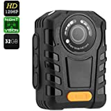 Full HD 1296P Body Cameras for Law Enforcement with Night Vision, 2 Inch Display Built-in 32GB Memory