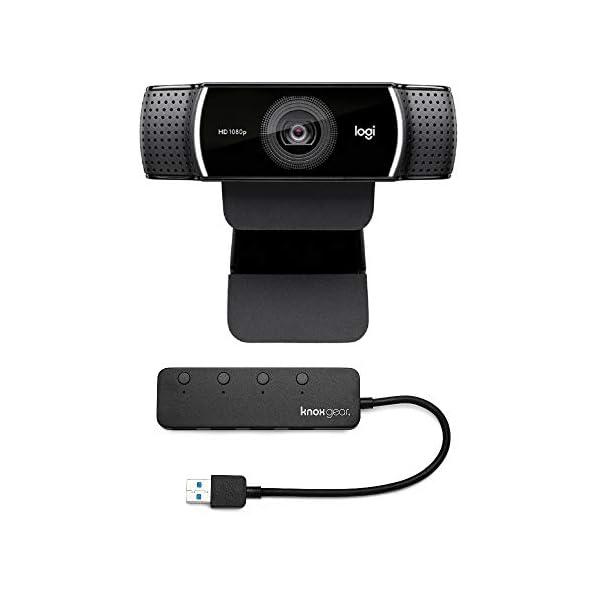 Logitech C922 Pro Stream 1080p Webcam with Knox 4 Port USB 30 Hub Bundle 2 Items