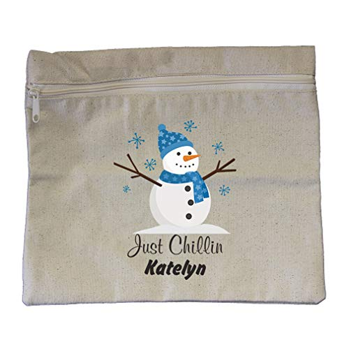 Personalized Custom Text Just Chillin Cotton Canvas Zippered Pouch 12