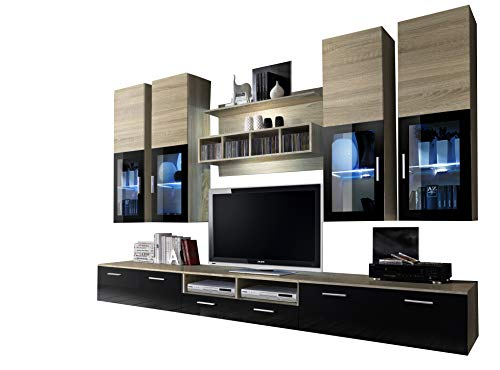 Oak Entertainment Wall Unit - Concept Muebles Presto Modern Wall Unit/Entertainment Centre/Spacious and Elegant Furniture/TV Cabinets/TV Stands for Modern Living Room (Sonoma Oak)