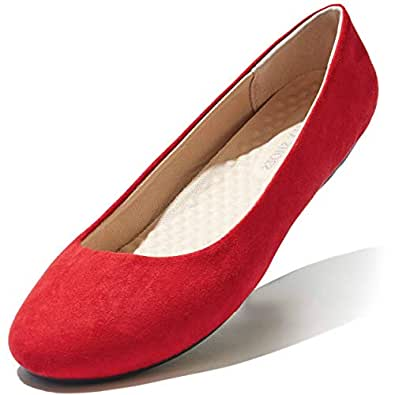 DailyShoes Women's Classic Flats Comfortable Upper Round Flat Slip-On Loafer Sneaker Shoes-Ideal for Casual Occasions Red Size: 5