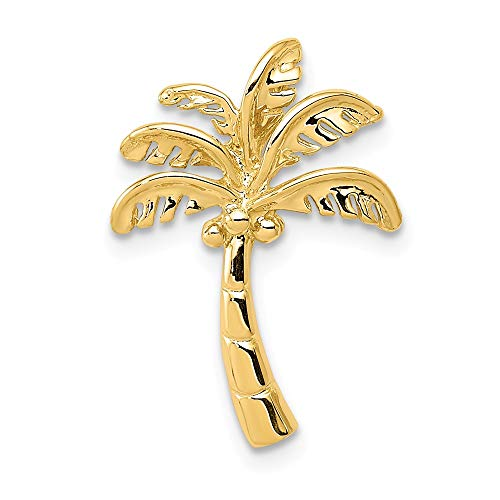 14k Yellow Gold Palm Tree Slide Necklace Pendant Charm Chain Fine Jewelry Gifts For Women For Her