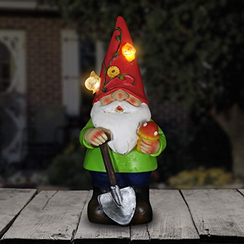"""Exhart Solar Light up Gnome Garden Statue, Solar Powered, Resin, Red Hat, 5"""" L x 5"""" W x 10"""" H"""