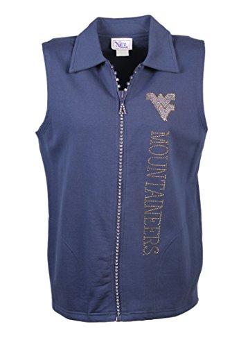 Nitro USA NCAA West Virginia Mountaineers Women's Crystal Zipper Vest with Rhinestone and Metallic WV & Mountaineers, 2X, -