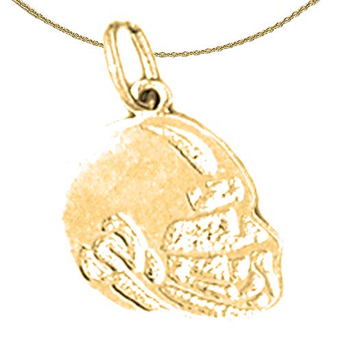 Jewels Obsession Solid 14K Yellow Gold Football Helmet Pendant with 16