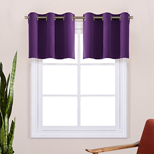 Short Blackout Valances for kitchen - NICETOWN Energy Smart Eyelet Top Blackout Curtain Tiers (2 Panels, 42W by 18L Inches, Royal Purple)