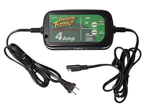 (Battery Tender 022-0209-DL-WH 4A Selectable Charger is an AGM/Standard or GEL/Lithium Iron Switchable, 12v or 6v Switchable at 4a, Includes Rings & Clips. It Will Never Over Charge Your Battery)