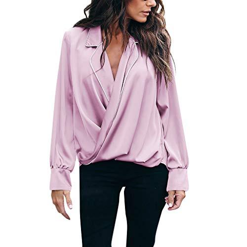 NCCIYAZ Womens Shirt Sexy Deep V-Neck Solid Long
