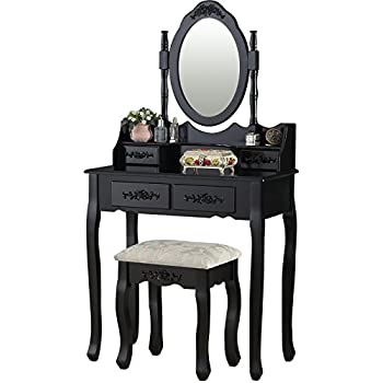 Amazon Com 3pcs Ashton Walnut Finish Vanity Table With