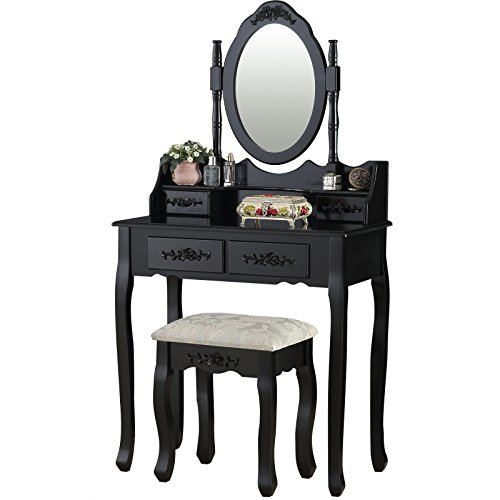 (Mecor VD-52948BKHW Set with Mirror, Girls Dressing Vanity Makeup Table with 4 Drawer/Stool,Black)