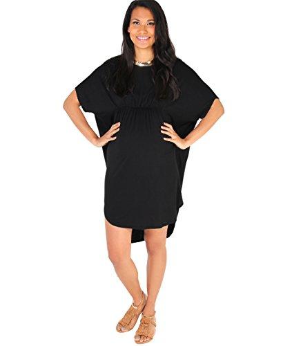 Vita Corta Lunga Manica Tunica Premaman KRISP Elastico Shirt Vestito Vestibilità Nero Top Donna T zY6Y0RqX