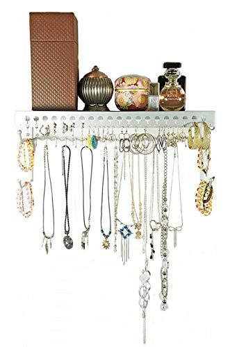 (Mango Steam Wall-Mounted Jewelry Organizer Shelf (17 Inch, Silver))