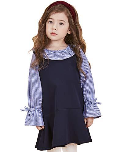 1970s Knit Vintage - SenseFit Kids Little Girls Casual Cutie Toddler Long Sleeve Vintage Party Blue Navy Dresses for Kids 3~8 Years