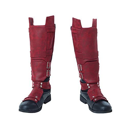 COMShow Mens Deadpool Costume Boots for Super Hero Custom Shoes Halloween Costume ()