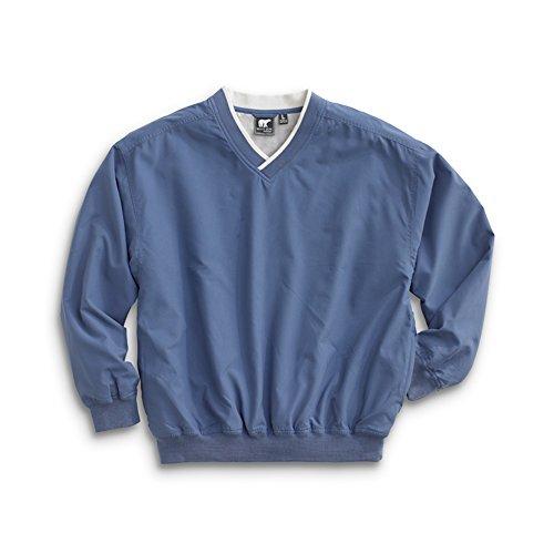 Men's Fully Lined V-Neck Golf and Wind Shirt - Atlantic Blue/Ivory, X-Large (Microfiber V-neck)