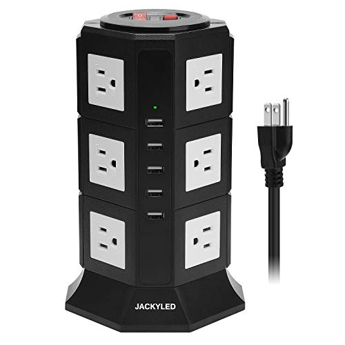 Surge Protector Power Strip Tower JACKYLED 12 AC Outlets 3000W 15A and 5 USB Slots 8A Desktop Smart Universal Charging Station Multiple Protection with Heavy Duty 6.5ft 14 AWG Extension Cord for Home (15 Tower Speakers)