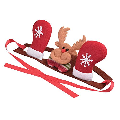 Cosmos Adjustable Lace Pet Headband Christmas Costume with Reindeer Stockings for Dog Cat Festival Decoration