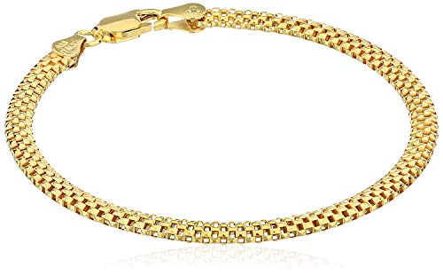 (Amazon Essentials Yellow Gold Plated Sterling Silver Mesh Chain Bracelet, 7
