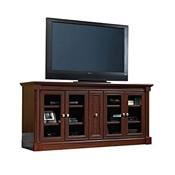 Pemberly Row Entertainment Credenza with Cord Management, for TV s up to 70 , 2 Door Options Included Glass or Wood , Cherry Finish