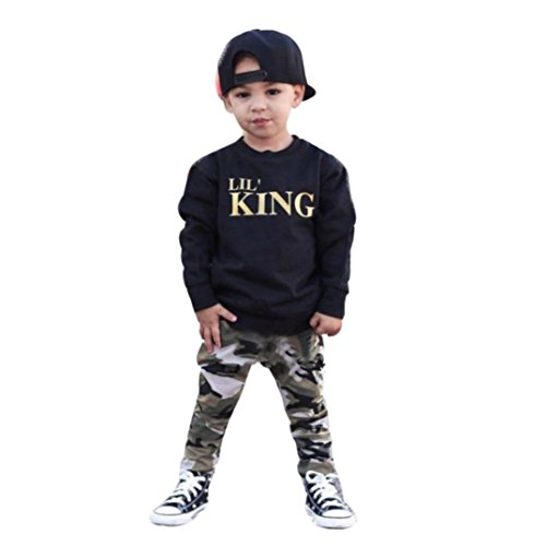 Lowprofile 2 Pieces Outfits Set Toddler Kids Baby Boys Clothes Long Sleeve Letter Sweatshirt T-Shirt Casual Camouflage Pants(90 (2T), (3 Piece Harem)