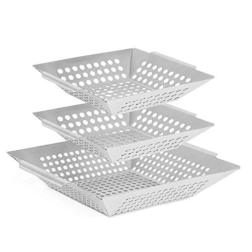 Vencino 3-Pack Grill Baskets, BBQ Wok for Vegetable, Shrimp, Meat - Stainless Steel Grilling Accessories, Charcoal, Gas or Electric Grills OK(Large 12x12 inches)(Small 8x8 inches)