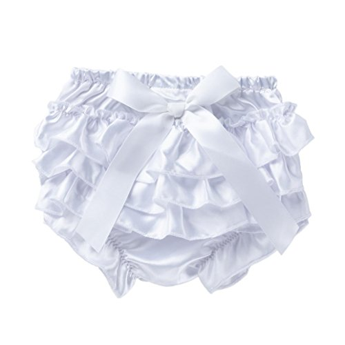 Lanhui Baby Ruffle Bloomer Nappy Infant Girl Bowknot Underwear Panty Diaper (White, 3Months) ()