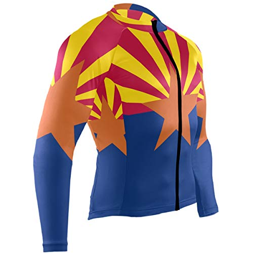 Men's Cycling Jerseys Arizona State Flag Quick Dry Bike Jacket Long Sleeve Shirt Tops Zipper Pockets