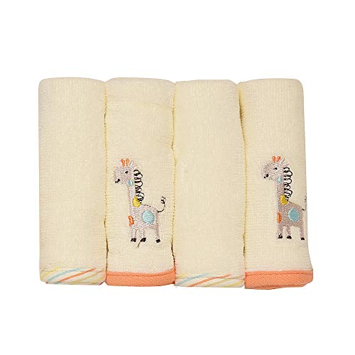 (Little Me Giraffe 4-Pack Woven Terry Velour Washcloth Set)