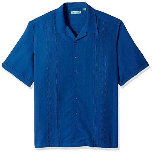 Cubavera Men's Tall Short Sleeve Rayon-Blend Solid Cuban Camp Shirt with Pocket, Estate Blue, 2X-Large Big