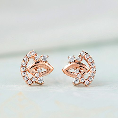 Ashley Jeweller Fashionable Clear CZ Sterling Silver Eyes and Lips Stud Earrings