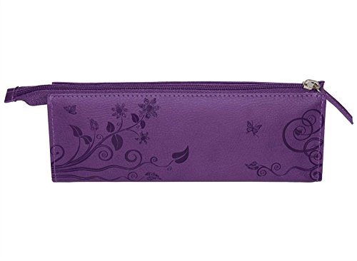Pierre Belvedere Executive Line Embossed Pen and Pencil Pouch, Organic Flowers, Purple