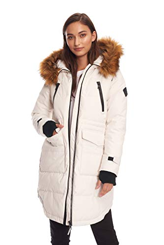 Alpine North Womens Vegan Down Drawstring Winter Parka, Cream, M