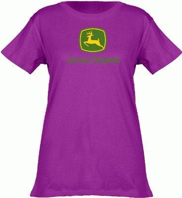 John Deere Logo T-Shirt - Women's - Fuchsia, Small (Ladies John Deere Shirt)