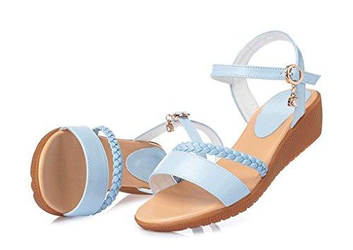 Talons Mode Femme Bleu à Hauts à Été Sandales Fashion New Printemps Sandales Sweet et Sexy Style la mi JAZS® Élégant 0Ufwq5H