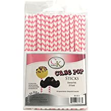 "CK Products 6"" CAKE POP STICKS CHEVRON PINK 25 count"