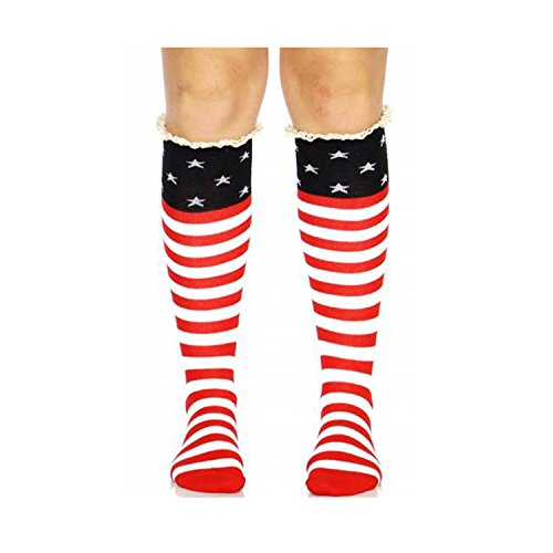Crown United States of America USA Flag Knee High Socks with Lace