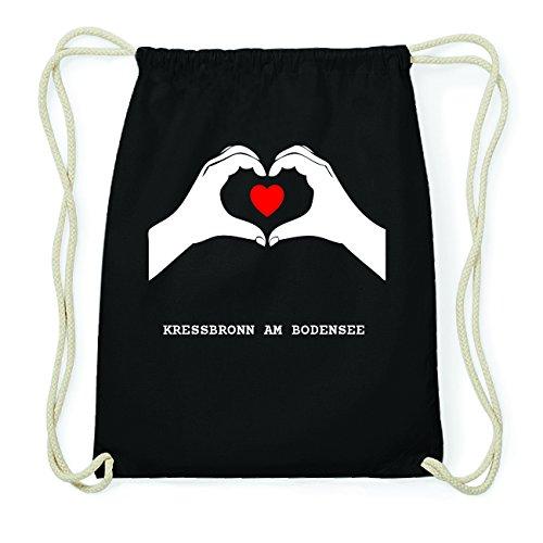 JOllify KRESSBRONN AM BODENSEE Hipster Turnbeutel Tasche Rucksack aus Baumwolle - Farbe: schwarz Design: Hände Herz