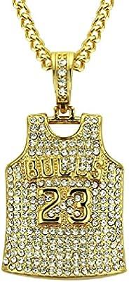 Bulls Jersey Necklace for Men, Hip Hop No. 23 Jersey Necklace Number 23 Basketball Jersey Necklace Men's Baske
