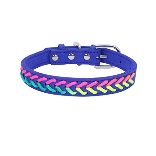 LOVELY Dog Collar Braided Custom Leather Puppy Cat Pet Collars For Small Medium Dogs Basic Collars Blue S by LOVELY