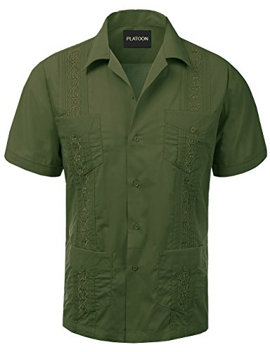 Platoon Guayabera Short Sleeve Mens Cuban Shirt Wedding Cigar Beach Bartender (M, Olive Green) by Platoon