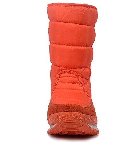 DADAWEN Womens Waterproof Frosty Snow Boot Orange GaQMhHjFK