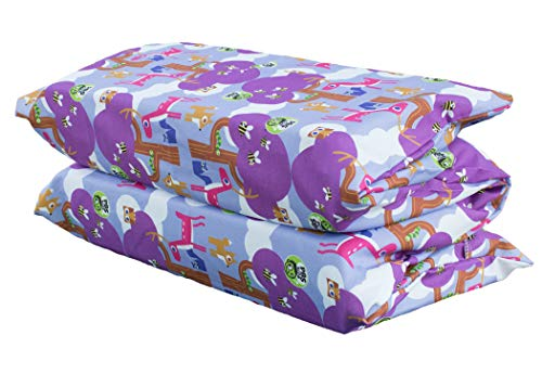 Price comparison product image KinderMat PBS Kids Cover, Pillowcase Style Full Sheet, Fits Rest Mats Roughly 19 x 45 Inches, Woodland Friends, Purple