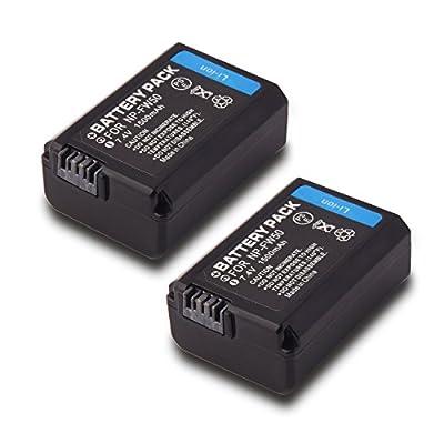 NP-FW50, Battery (2-Pack) for Sony Alpha 7, a7, Alpha 7R, a7R, Alpha a3000, Alpha a5000, Alpha a6000, NEX-3, NEX-3N, NEX-5, NEX-5N, NEX-5R, NEX-5T, NEX-6