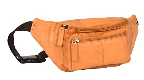 Echtes Leder Taille Bum Bag Slim Reise Geld Tasche Pack Barcelona Sand Braun