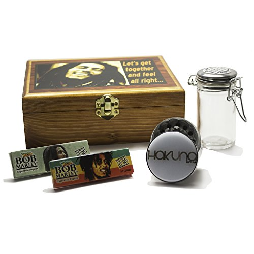 Wooden-Bob-Marley-Inspired-Stash-Box-Tobacco-Box-Rolling-Kit-Cigerette-Rolling-Tray-4-Pc-Bundle