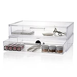 2-Pack Premium Quality Large Stackable Cosmetic Storage and Makeup Palette Organizer Drawer | Audrey Collection