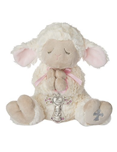 Ganz Serenity Lamb With Crib Cross Christening or Baptism Gift (Pink -