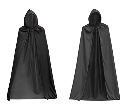 Con Ideas Costume Comic Cool (Halloween Costumes Hooded Wizard Cloak Unisex Adults Cosplay Black Cape Cosplay)